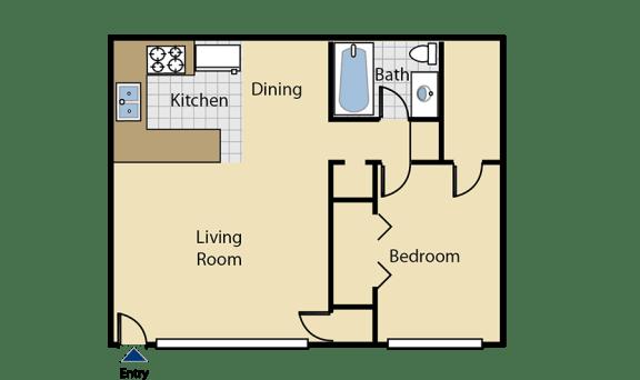 Floor Plan  One bedroom floor pan l Cottage Bell Apartments in Sacramento CA