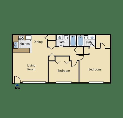 Floor Plan  Two bedroom floor plan l Cottage Bell Apartments in Sacramento CA