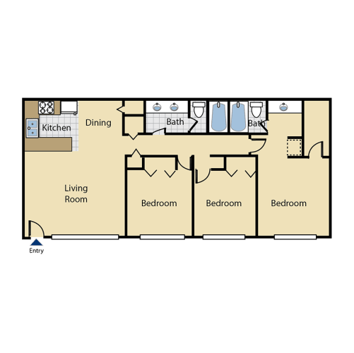 Floor Plan  Three bedroom floor plan l Cottage Bell Apartments in Sacramento CA