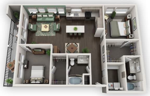 Floor Plan  2X2 B3 available at Fusion 355 in Broomfield, CO