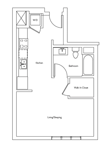 Floor Plan  Studio 1 Bath 475 square feet floor plan Residence A