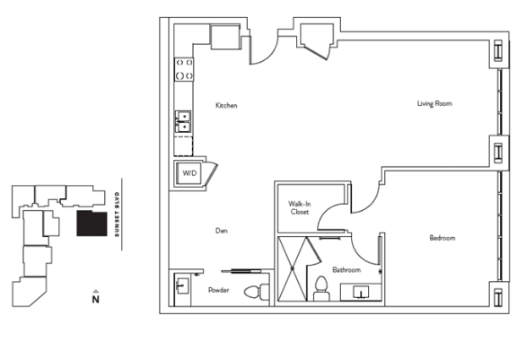 Floor Plan  1 Bed 1.5 Bath 1006 square feet floor plan Residence E