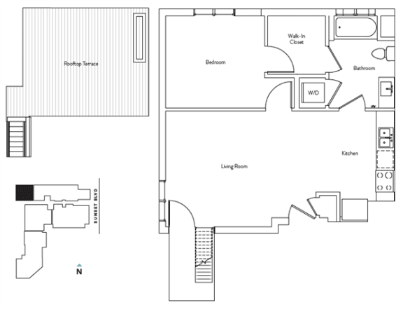 Floor Plan  1 Bed 1 Bath 630 square feet floor plan Residence B.2