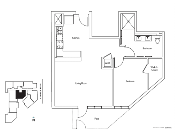 Floor Plan  1 Bed 1 Bath 824 square feet floor plan Residence D
