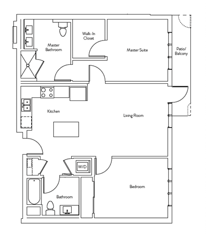 Floor Plan  2 Bed 2 Bath 998 square feet floor plan Residence H