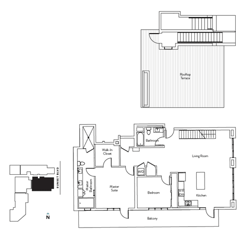 Floor Plan  2 Bed 2 Bath 1548 square feet floor plan Residence M