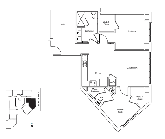 Floor Plan  2 Bed 2.5 Bath 1083 square feet floor plan Residence J