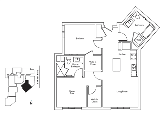 Floor Plan  2 Bed 2 Bath 947 square feet floor plan Residence G