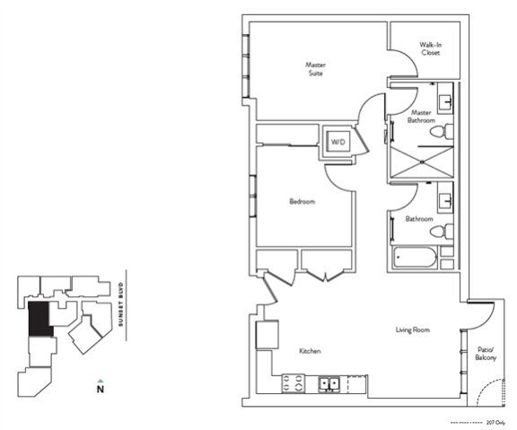 Floor Plan  2 Bed 2 Bath 944 square feet floor plan Residence F