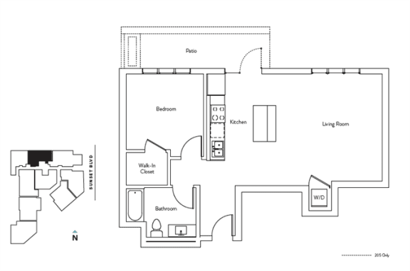 Floor Plan  1 Bed 1 Bath 714 square feet floor plan Residence C