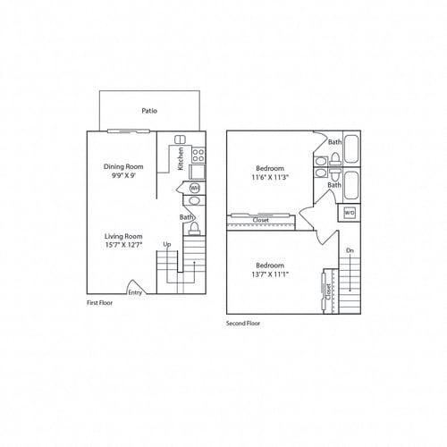 Floor Plan  2/2 Townhouse