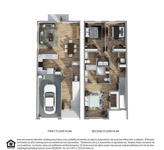 Floor Plan  PLAN 1514, 3 Bed 2.5 Bath, 1514 SQ.FT.floor plan, Palm A- Hardie Townhome- Exterior Unit