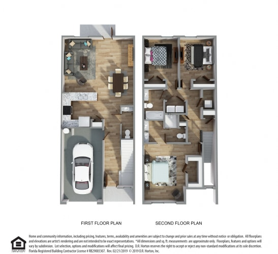 Floor Plan  PLAN 1498, Palm B- Hardie Townhome- Interior Unit, 3 Bed 2.5 Bath, 1498 SQ.FT.  floor plan