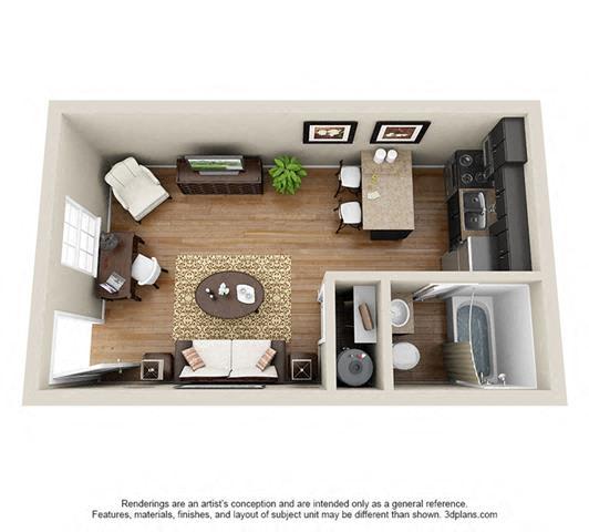 Floor Plan  Studio, 400 sq. ft.