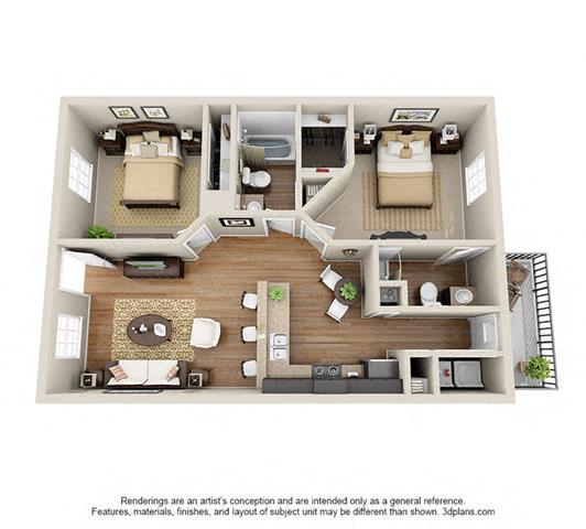 Floor Plan  2 Bed, 2 Bath, 866 sq. ft.