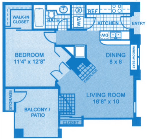 Floor Plan  Ridgepointe A1 Floor Plan depicting dimensions of apartment home., opens a dialog.