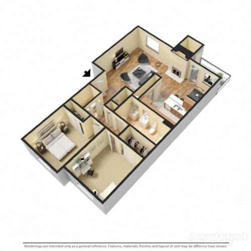 Floor Plan  2 Bed 1 Bath Floor Plan at Copper Creek, Milton, WA