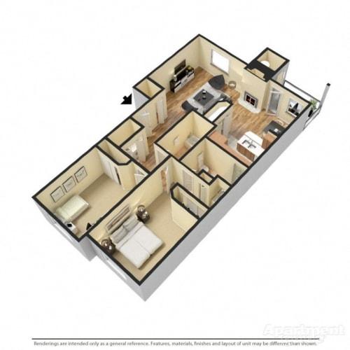 Floor Plan  2 Bed 2 Bath Floor Plan at Copper Creek, Milton, 98354