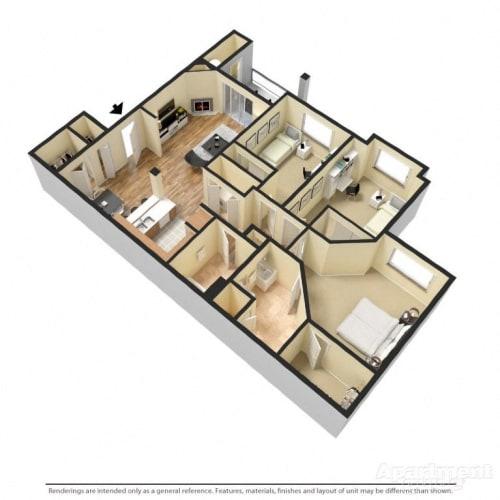 Floor Plan  3 Bed 2 Bath Floor Plan at Copper Creek, Milton, Washington