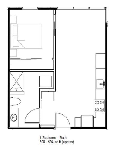 Floor Plan  1 Bedroom 1 Bath