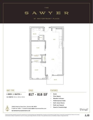Floor Plan  1x1 + Den North