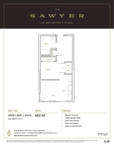 Floor Plan  1x1 Open North
