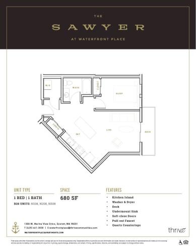 Floor Plan  1x1 Small North