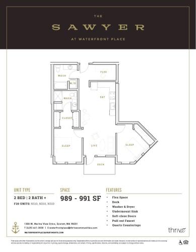 Floor Plan  2x2 Medium North