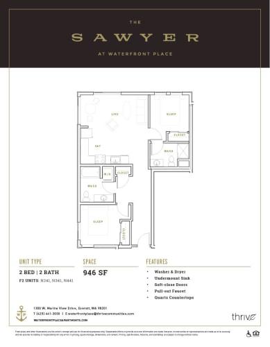 Floor Plan  2x2 Small North