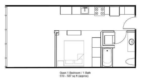 Floor Plan  Open 1 Bedroom