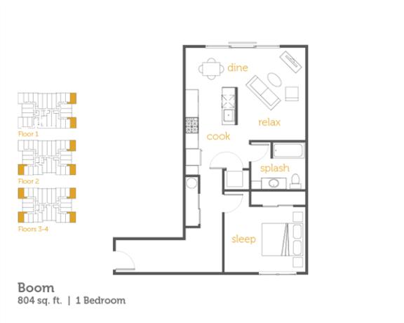 Floor Plan  Boom - 1x1