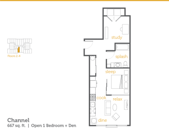 Floor Plan  Channel - 1x1 Open + Den