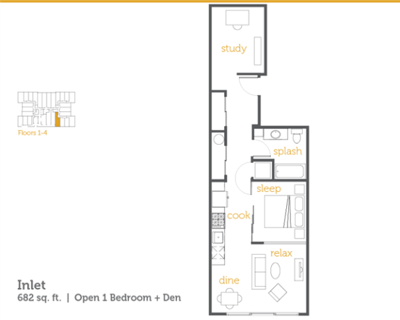 Floor Plan  Inlet - 1x1 Open + Den