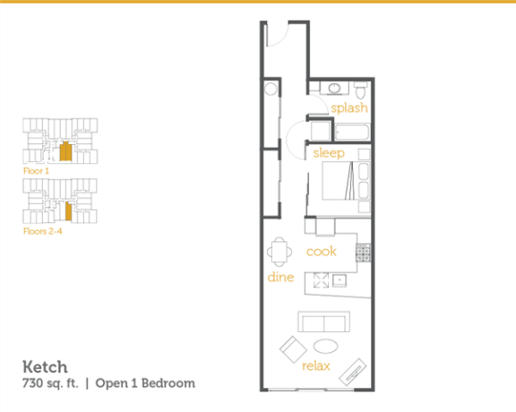 Floor Plan  Ketch - 1x1 Open