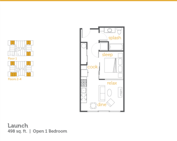 Floor Plan  Launch - 1x1 Open