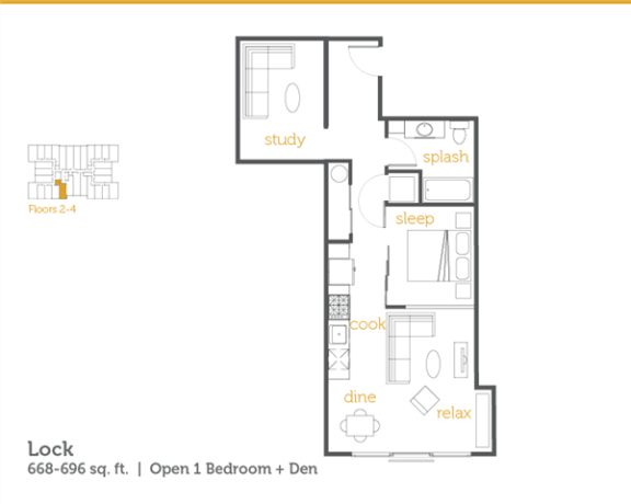 Floor Plan  Lock - 1x1 Open + Den