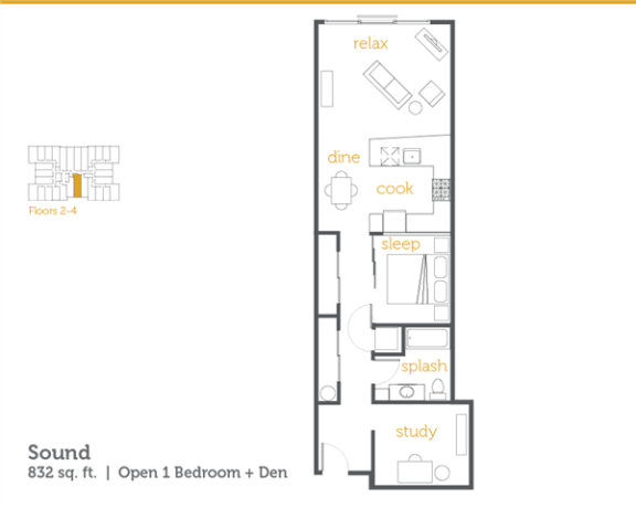 Floor Plan  Sound - 1x1 Open + Den
