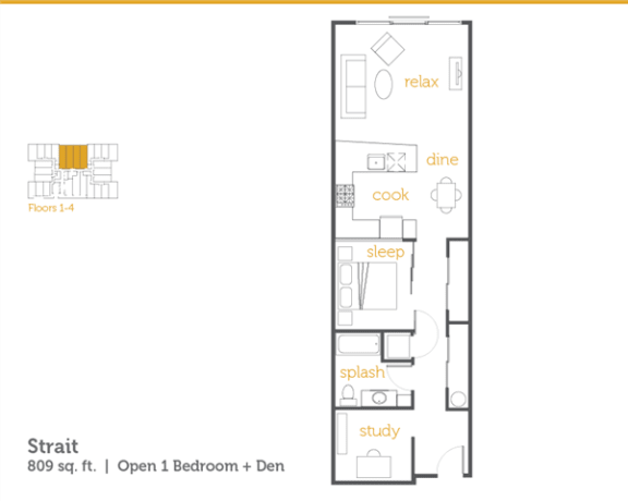 Floor Plan  Strait - 1x1 Open + Den