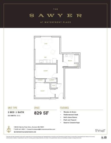Floor Plan  2x1 North