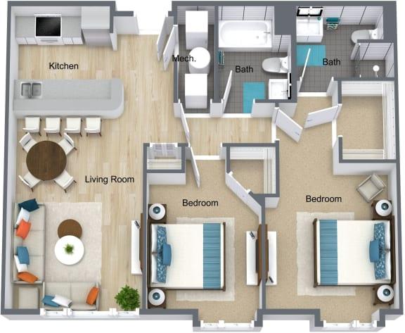 Floor Plan  Station Square 2 bedroom