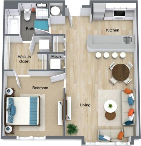 Floor Plan  Station Square 1 Bedroom