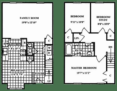 Floor Plan  3 Bedroom 1.5 Bath Deluxe - Bay Window