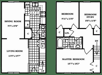 Floor Plan  3 Bedroom 1.5 Bath Deluxe