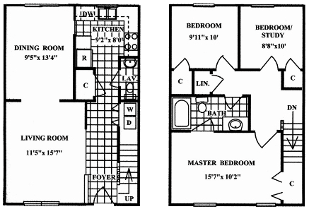 Floor Plan  3 Bedroom 1.5 Bath