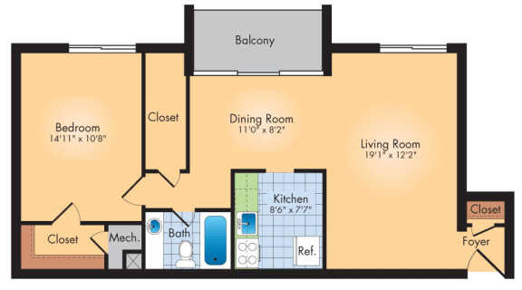 Floor Plan  1 Bedroom 1 Bath 913 SqFt Plan A