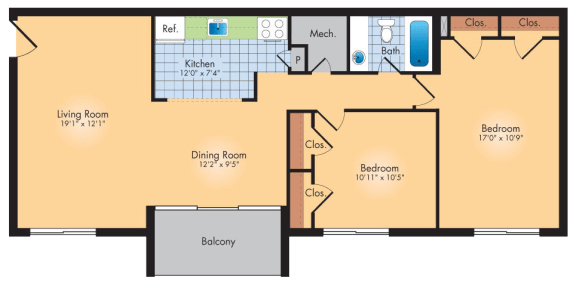 Floor Plan  2 Bedrooms 1 Bath 989 SqFt