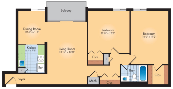 Floor Plan  2 Bedroom 1 Bath 1042 Sqft