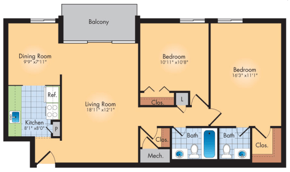 Floor Plan  2 Bedroom 2 Bath 1033 SqFt