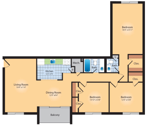 Floor Plan  3 Bedroom 2 Bath 1273 SqFt