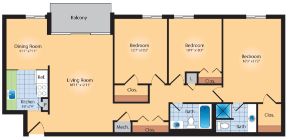 Floor Plan  3 Bedroom 2 Bath 1200 SqFt